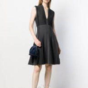 Emporio Armani 2 Tone Jacquard Flare Dress in Grey